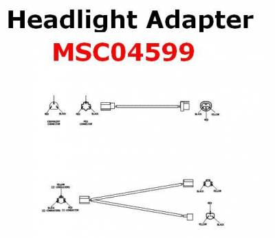 Vehicle Specific Wiring - Jeep Wiring - Boss - Boss Headlight Adapter MSC04599 2B Lights