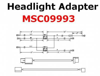 Vehicle Specific Wiring - Jeep Wiring - Boss - Boss Headlight Adapter MSC09993 H13 Lights