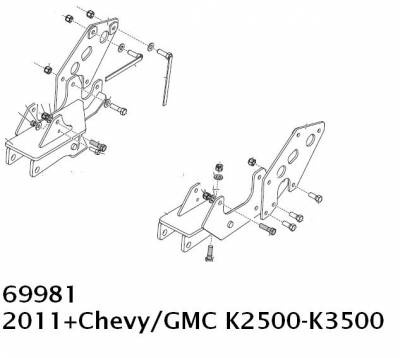 Western UltraMount Vehicle Mounts - Chevrolet/GMC Western UltraMounts - Western - Western UltraMount Kit 69981, 2011 & Newer GMC Chevy 2500-3500